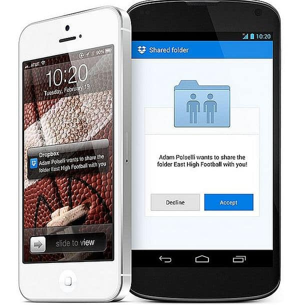 dropbox app on your mobile