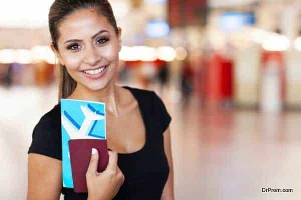 portrait of young businesswoman at airport