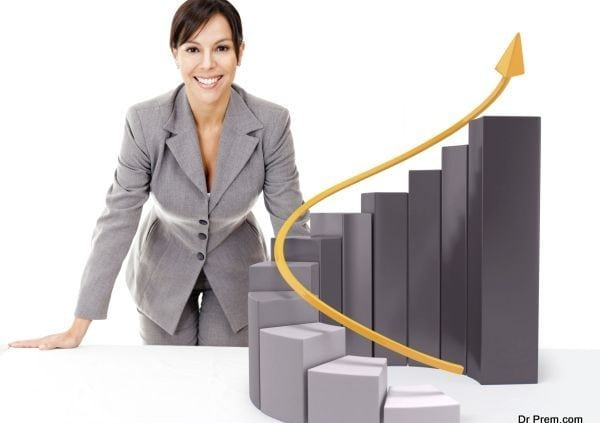 Businesswoman with  growth graph