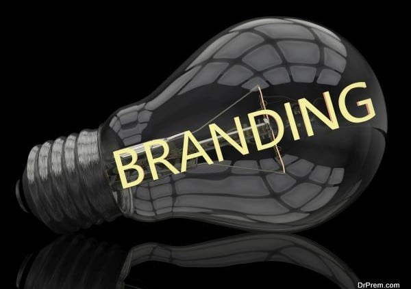 Branding - lightbulb on black background with text in it. 3d render illustration.