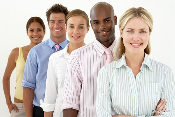 Row of smiling businesspeople